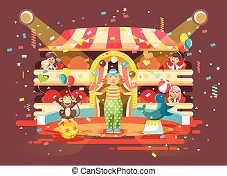 écolier, exposition, écolière, entraîné, style, exécuter, filles, intérieur, performance, jongleries, plat, arène, regarder, cirque, illustration, garçons, caractères, enfants, dessin animé, animaux, clown, vecteur