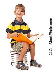 écolier, livres, séance