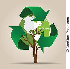 écologie, concept., arbre, symbole, vecteur, recycler, vert, penser