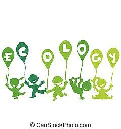 écologie, concept, ballons, gosses