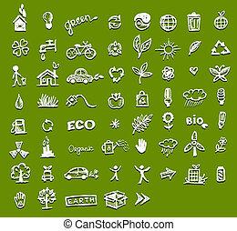 écologie, conception, ton, icônes