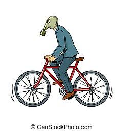 écologie, cyclisme, pop, mauvais, vecteur, art