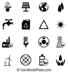 écologie, ensemble, icône