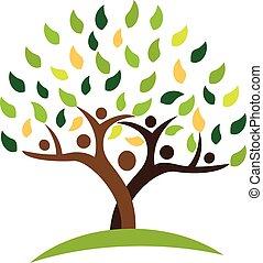 écologie, famille, gens, arbre, leafs., vert, logo
