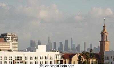 écologie, highrise, ville, usa., en ville, gratte-ciel, sale, los, visibilité, problèmes, fog., métropole, bas, toxique, smog, angeles, skyline., brumeux, urbain, pollution, air, cityscape, californie