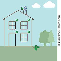 écologie, maison verte