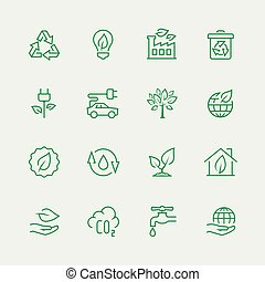 écologique, vecteur, ensemble, icône