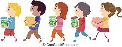 économies, gosses, stickman, illustration, promenade