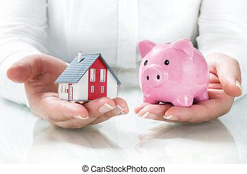 économies, hypothèque, concept