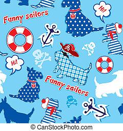 écossais, -, marins, modèle, rigolote, lifebuoy, chiens, roger, seamless, terrier, gai, ancre