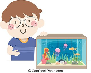 écosystème, diorama, marin, garçon, gosse, illustration