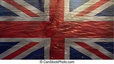 écoulement, britannique, fond, eau, drapeau