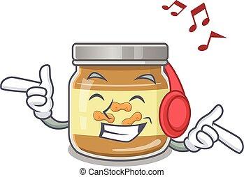écoute, dessin animé, arachide, musique, conception, beurre, caractère, mascotte