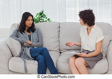 écoute, femme, elle, thérapeute