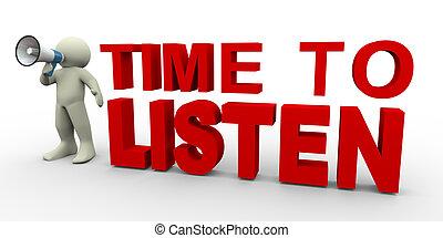 écouter, temps, -, homme, 3d