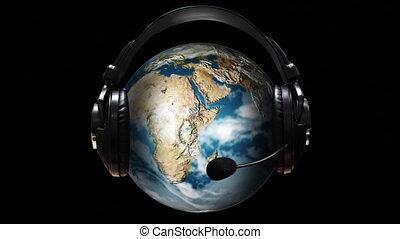 écouteurs, animé, globe, il