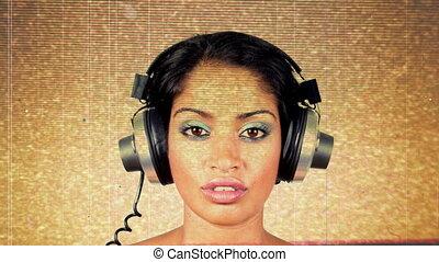 écouteurs, coup, très, intéressant, femme, disco, retro, changer, head.