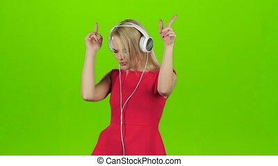 écouteurs, danse, écran, vert, blond, robe, girl, rouges