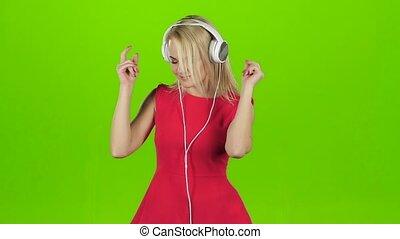 écouteurs, danse, écran, vert, sexy, girl, robe, rouges