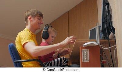 écouteurs, homme, garçon, informatique