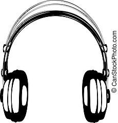 écouteurs, illustration, vecteur, fond blanc
