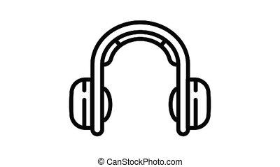 écouteurs, musique, animation, icône