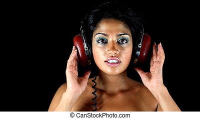 écouteurs, très, femme, disco, retro, head.