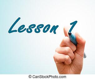 écran, écriture, 1, stylo, mains, leçon