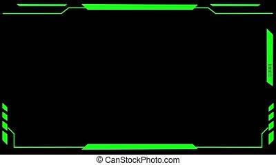 écran, animation., hud, panneau, vert, contrôle, éléments, signal, interface, utilisateur, interférence, boucle, futuriste