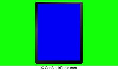 écran, animation, vert, tablette
