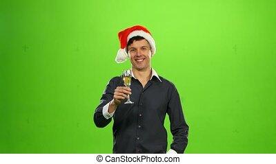 écran, années, verre, champagne., vert, nouveau, homme souriant, heureux