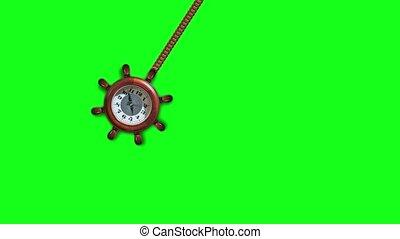 écran, balancer, montre, hypnotique, vert
