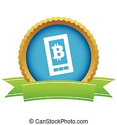 écran, bitcoin, certificat, icône