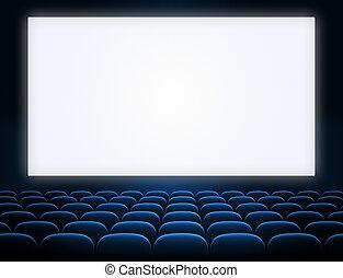 écran bleu, sièges, ouvert, cinéma