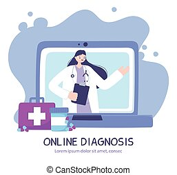 écran, consultation, bavarder, service, thérapeute, ligne, conseil, ou, monde médical, docteur féminin, ordinateur portable