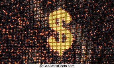 écran, dollar, forme, boucle, numérique