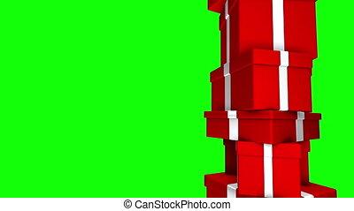 écran, dons, tas, rouge vert, boucle