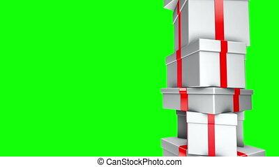 écran, -, dons, tas, vert, boucle