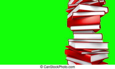 écran, -, livres, rouge vert, boucle