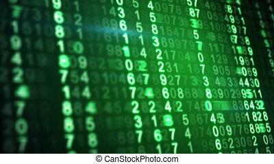 écran, loopable, vert, nombres, fond, numérique