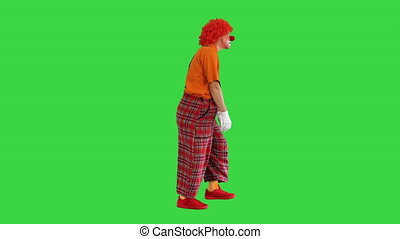 écran, marche, rigolote, vert, triste, chroma, manière, malheureux, clown, key.
