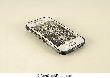 écran, moderne, cassé, smartphone, mobile, touchscreen