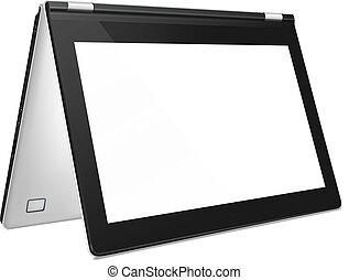 écran, moderne, ordinateur portable, cabriolet, vide