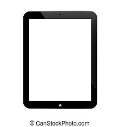 écran, noir, tablette, business, vide