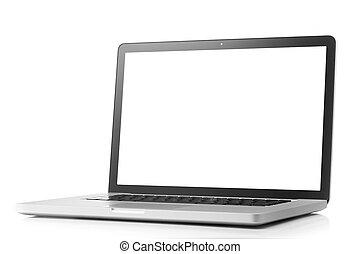 écran, ordinateur portable, blanc, isolé, vide