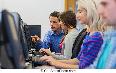 écran ordinateur, quelque chose, projection, étudiant, prof, salle