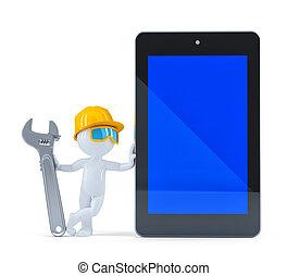 écran, ouvrier construction, tablette, vide