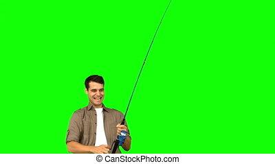 écran, pêche homme, vert