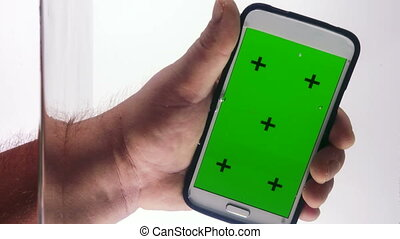 écran, plongement, main, eau, téléphone, vert, intelligent
