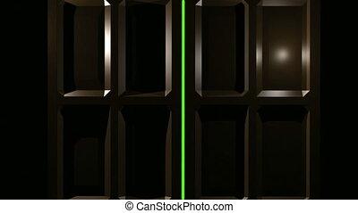écran, portes, double, vert